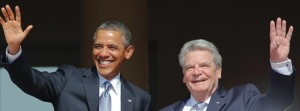 U.S. President Obama and his German counterpart Gauck wave as they meet at the presidential residence Bellevue Castle in Berlin