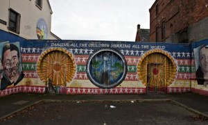The peace wall that runs through the New Lodge area of north Belfast.