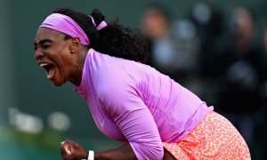 Serena Williams celebrates a point in her match against Victoria Azarenka at the French Open